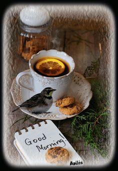 Gif good morning tea and bird Good Morning Gift, Good Morning Sister, Morning Love, Good Morning Coffee, Good Morning Flowers, Good Morning Greetings, Good Afternoon, Morning Pictures, Good Morning Images