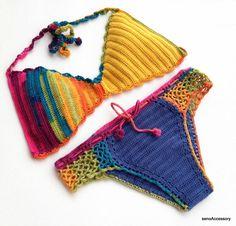 Crochet Bikini Top Bikini Bottom 2015 Swimwear by senoAccessory