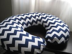 Reversible Boppy Cover with one side in Minky- Navy Chevron with Navy Minky on Etsy, $30.00