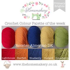 Crochet Colour Palette: Primary Brights using Rooster Almerino DK - The Homemakery Blog