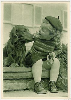 Dogs, Little Girl with a Dachshund, Cute Old Bigger Sized Postcard