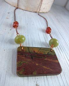 Earthy Jasper Slab Necklace  Wearable Art by by SusanHeleneDesigns, $38.00