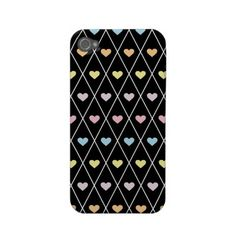 Colorful Hearts Argyle Case-mate Iphone 4 Case by Girly Template