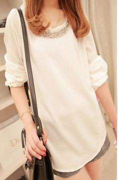 White Chiffon Long Sleeves Korean Fashionable Blouse with Sequin Neckline Decoration 1