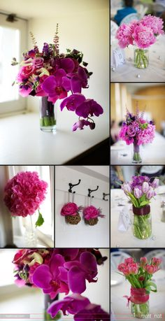 Pink & Purple bouquets, orchids, roses, peonies, hydrangeas