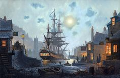 Moonlight Wharf.  A painting by St Ives Artist Donald MacLeod Maritime Art