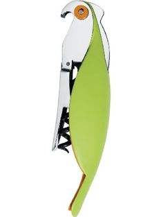 A di Alessi Parrot Sommelier-Style Corkscrew, Green ❤ Alessi