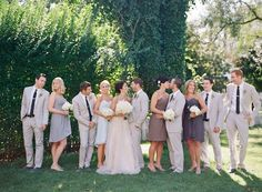 Interesting colors for the bridesmaids. I like how they are all different but in the same overall color palette.
