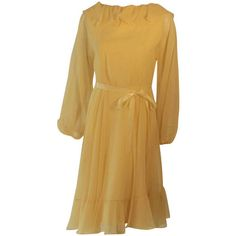 Pre-owned Travilla Yellow Chiffon Cocktail Dress, circa 1970 ($895) ❤ liked on Polyvore