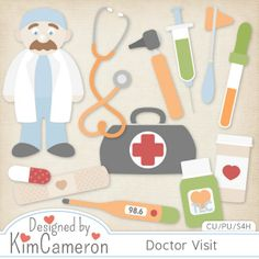 Daisies & Dimples Doctor Visit CU [kimcameron_doctorvisit] - Add some great medical elements for those booboo kits with these simple templates! Includes a PSD and separate PNG layers for a doctor bag, bandaid, capsule, doctor, dropper, 2 medicine bottles, needle, octoscope, reflex hammer, stethoscope and thermometer. Commercial use ok! Save $$$ when you purchase theHospital Bundle!