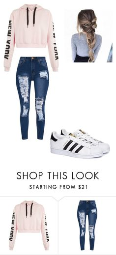 """I love distressed jeans"" by gabs129-1 ❤ liked on Polyvore featuring adidas"