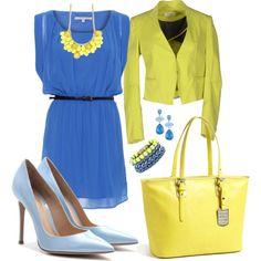 """Blue & Lemon im Office ;)"" by veradediamant on Polyvore"