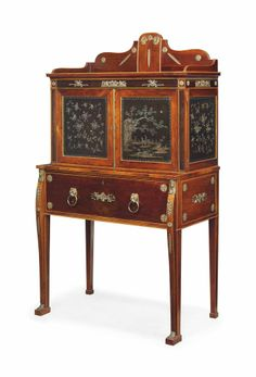 A REGENCY BRASS-MOUNTED ROSEWOOD, AND PADOUK AND LAC-BOURGAUTE SECRETAIRE -  EARLY 19TH CENTURY