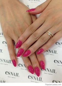 Perfect almond pink nails design with a gold ring #FunNailArt