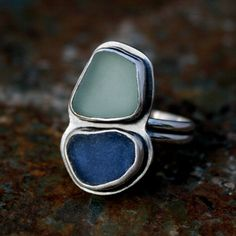 sea glass ring, Hawaiian jewelry, aqua and cobalt blue, sterling silver, Hawaii beach glass