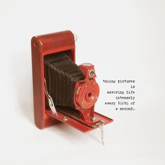 Cute little vintage red Kodak Brownie photograph with quote.  Great gift for the photographer.