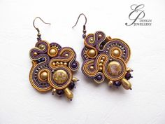 Soutache Earrings gold and ametist colors soutache earrings handmade soutache jewelry
