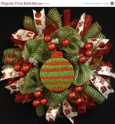 ON SALE Red White Green Christmas Wreath Poly by wreathsbyrobin, $47.85