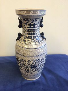 Vintage chinoiserie style blue & white vase on Etsy, $68.50