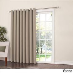 Sun Zero Galia Rod Pocket Room Darkening Patio Door Single Curtain Panel (Stone 84-inches), Grey, Size 84 Inches (Polyester, Solid)