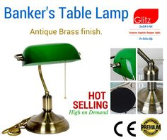 Banker's table lamp  Antique brass finish. Hot selling product. Buy now @ www.amazon.in
