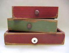 Stacking Wood Boxes Primitive Decoration by barbsheartstrokes,