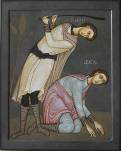 Russia-by Maxim Sheshukov ~~~ Cain Slaying Able. Egg tempera on gessoed panel. Byzantine Art, Byzantine Icons, Religious Icons, Religious Art, Cain And Abel, Christian Religions, Biblical Art, Art Icon, Orthodox Icons