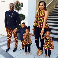 matching african outfits for family, latest african ankara styles for family, parents and kids ankara styles and designs, trendy ankara designs and styles for family, Beautiful Family Ankara Styles Couples African Outfits, Couple Outfits, Family Outfits, African Attire, African Wear, African Women, African Dress, African Style, African Print Fashion
