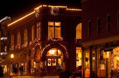 The Old First National Bank Building in Telluride in its current state  of restoration and decorated for Christmas!  Photo courtesy of Heart of Telluride.