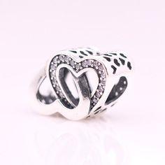 Doppio cuore intrecciato con zirconi chiari 100% argento sterling 925 adatta misure Pandora charm Pandora bead Braccialetto europeo BE-026 di OceanBijoux su Etsy