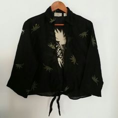 Semi sheer black tie front collared cover up Black and green.  Beach cover up. Purchased in Korea. boutique  Swim Coverups