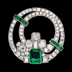 """Art Deco Columbian Emerald and Diamond Platinum Clip 1930's """