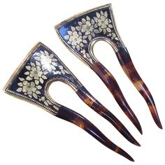 Edwardian Faux Tortoiseshell Hair Combs Matched Pair Gold Floral Hair Accessories.