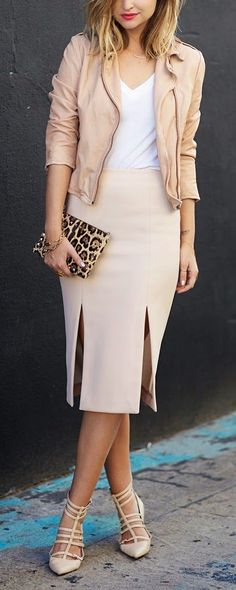 Spring neutrals with a blush leather jackets, slit pencil skirt, leopard clutch, and strappy pointed flats.