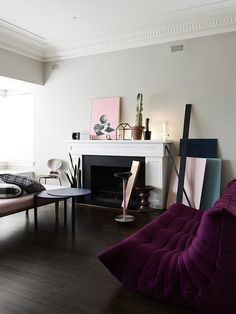 Purple Togo Sofa Among Minimalist Style Shaped Design Made From Fabric Material under Living Room Interior