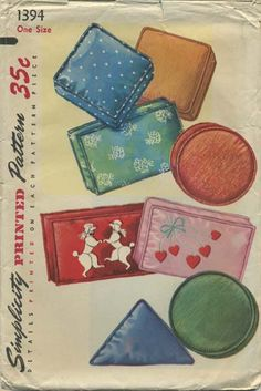 """Vintage Sewing Pattern for Pillows   Simplicity 1394   Year 1955   Oblong 12"""" x 18""""   Square 14"""" x 14""""   Round 14""""   Triangle 21"""" x 14""""   Includes Poodle and Heart design transfers"""