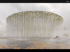Image 7 of 12 from gallery of Steven Chilton Architects Builds a Forest of White Columns Around Wuxi Taihu Show Theater. Wuxi Show Theatre. Image Courtesy of Steven Chilton Architects Theatre Architecture, Architecture Design, World Architecture Festival, China Architecture, Landscape Architecture, Landscape Design, Landscape Plans, Innovative Architecture, Minimal Architecture