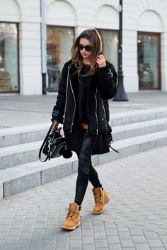 """fashion-clue: """" justthedesign: """" Julietta Kuczyńska wears a punky black shearling jacket over leather leggings, paired with classic Timberland boots. Looks Street Style, Looks Style, Mode Outfits, Casual Outfits, Fashion Outfits, How To Wear Timberlands, Timberlands Women, Timberlands Shoes, Ugg Shoes"""