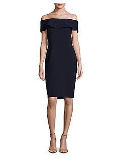 Karl Lagerfeld Paris Off Shoulder Crepe Dress
