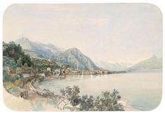 Thomas Ender (Vienna 1793-1875) A view over Lake Como to Bellaggio.