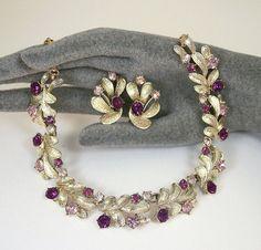 Vintage Coro Necklace Earrings Lavender Purple by zephyrvintage, $55.00
