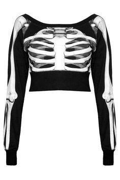 Skeletor Crop Sweater by Killstar Crop Pullover, Pullover Pink, Cropped Sweater, Crop Shirt, Sweater Shirt, Fashion Mode, Dark Fashion, Gothic Fashion, Fashion Outfits