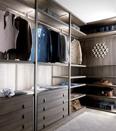 PALO ALTO Wood and glass walk-in wardrobe by MisuraEmme