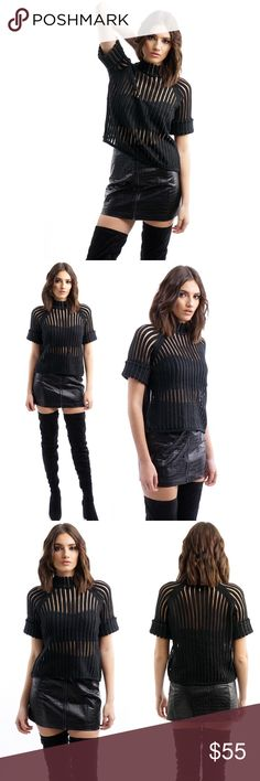 BLACK MESH KNIT TURTLENECK Black mesh knit sweater top with metal ring detail  Black Mesh  Turtleneck  Transparent Folded Short-sleeve 100% Polyester. Pictures are showing a small. Pictures shown are of actual product taken for Style Link Miami. Style Link Miami Tops