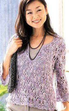 Crochet knitting pullover - with diagram. Beautiful