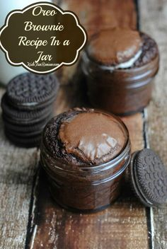 Bake oreo brownies in glass jars for single servings of deliciousness.