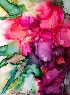 "Artist Name: Pamella Radwan Medium Used: Alcohol Ink Substrate: Yupo Size: 4"" x 6"" Artist Comments: I love flowers & tried to capture their beauty using this intriguing medium known as 'alcohol ink' here"