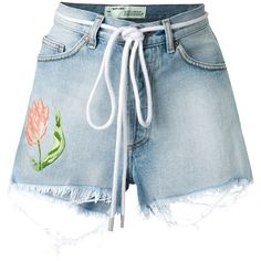 Off-White embroidered flower shorts (1.960 BRL) ❤ liked on Polyvore featuring shorts, blue, frayed denim shorts, jean shorts, high-waisted denim shorts, ripped jean shorts and high waisted ripped shorts