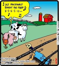 """He """"Bought the Farm"""" Old Quotes, Funny Quotes, Farm Cartoon, Chicken Jokes, Comic Panels, Funny Animals, Animal Funnies, Funny Comics, I Laughed"""