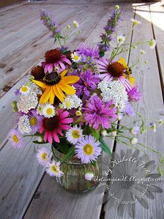 Wildflower Posy - featuring Rudbeckia, Echinacea, Bergamot, Asters, Milfoil and possibly some blue spikes of Hyssop (?).